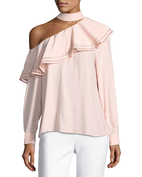 Parker Bellini One-Shoulder Silk Blouse w/ Eyelet