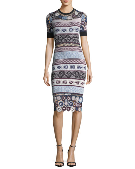 Parker Carol Crochet Knit Fitted Dress w/ Rings