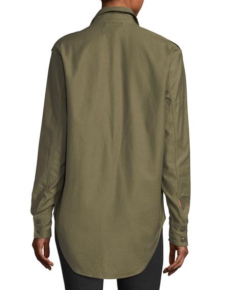 Button-Front Surplus Shirt Jacket