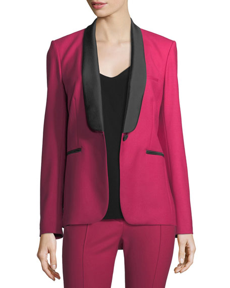 Veronica Beard Keaton Single-Button Shawl-Lapel Tuxedo Blazer