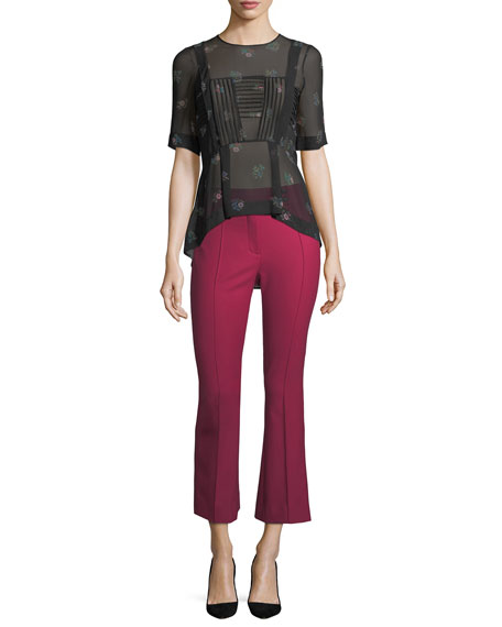 Vaughn Mid-Rise Seamed Cropped Flare Pants