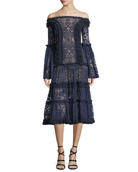 Jonathan Simkhai Off-the-Shoulder Tower Mesh Lace Midi Cocktail