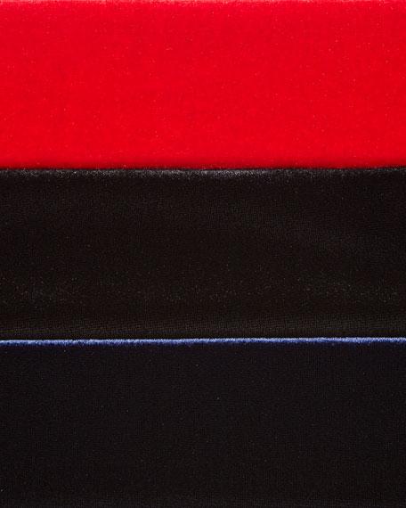 3/4-Sleeve Velour Tunic W/ Zipper Detail