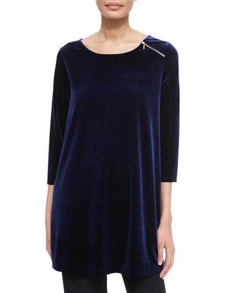 Joan Vass 3/4-Sleeve Velour Tunic W/ Zipper Detail,