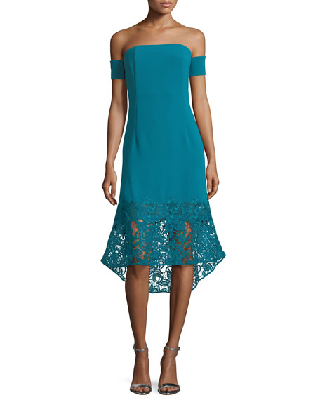 Sachin & Babi Indure Off-the-Shoulder Lace-Hem Sheath Cocktail
