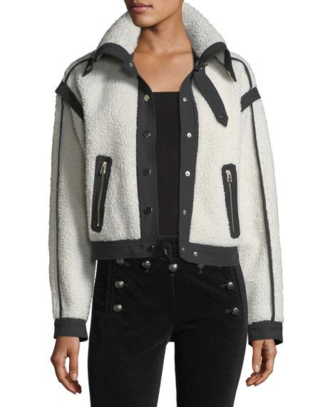 Anita Sherpa Shawl-Collar Snap-Front Moto Jacket