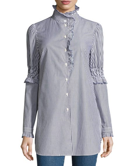 See by Chloe Mock-Neck Button-Front Striped Tunic Shirt