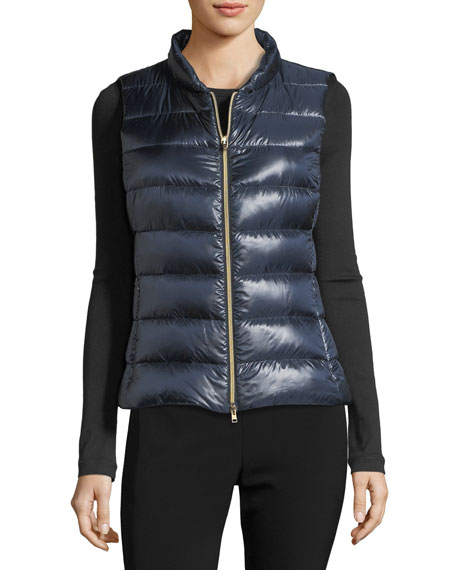 Quilted Puffer Vest w/ Fur Collar