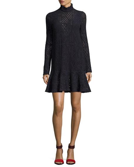 High-Neck Crochet A-line Dress