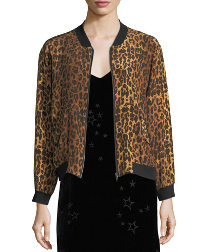 Johnny Was Leopard-Print Silk Bomber Jacket