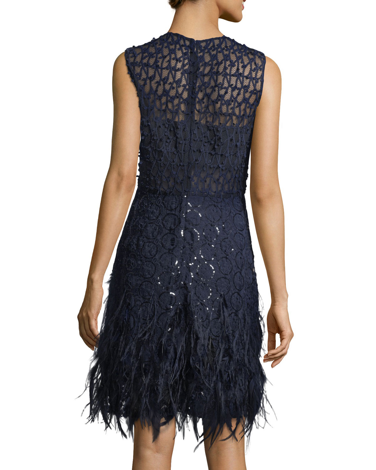 641db699 Elie Tahari Anabelle Sleeveless Lace Cocktail Dress w/ Feather Trim |  Neiman Marcus