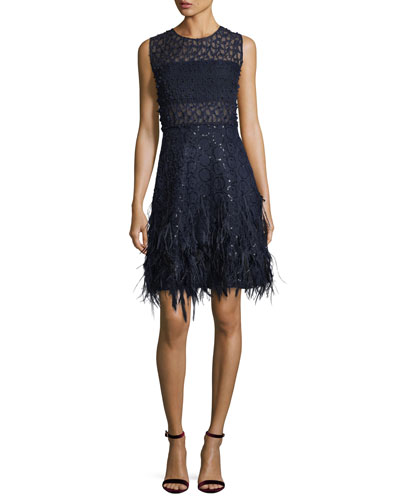 Anabelle Sleeveless Lace Cocktail Dress w/ Feather Trim