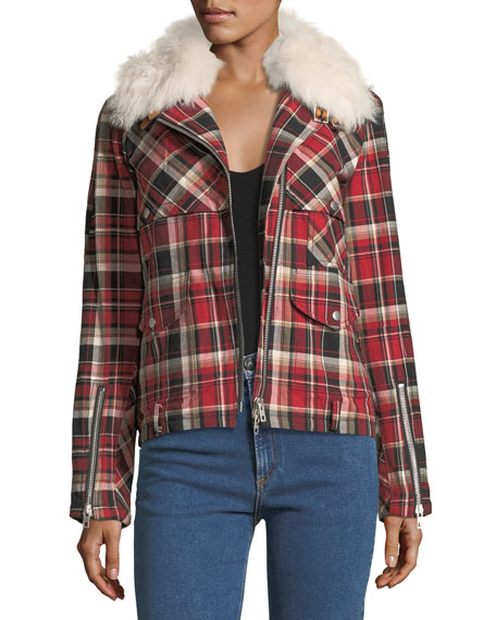 Etiene Zip-Front Plaid Jacket w/ Shearling
