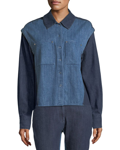 Public School Quasay Snap-Sleeves Two-Tone Denim Shirt and