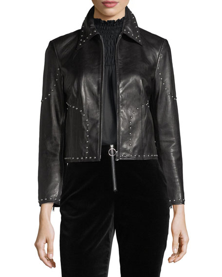 FRAME Studded Motorcycle Lamb Leather Jacket