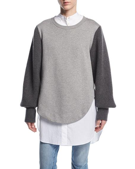 Burberry Alcobaca Sweatshirt w/ Rib-Knit Sleeves