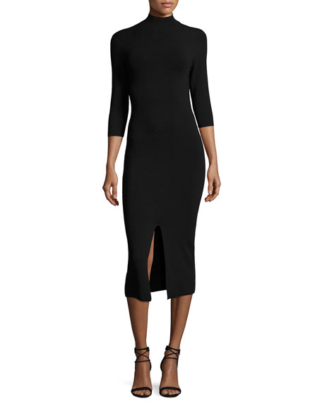 Meyer Mock-Neck 3/4-Sleeve Fitted Sweaterdress