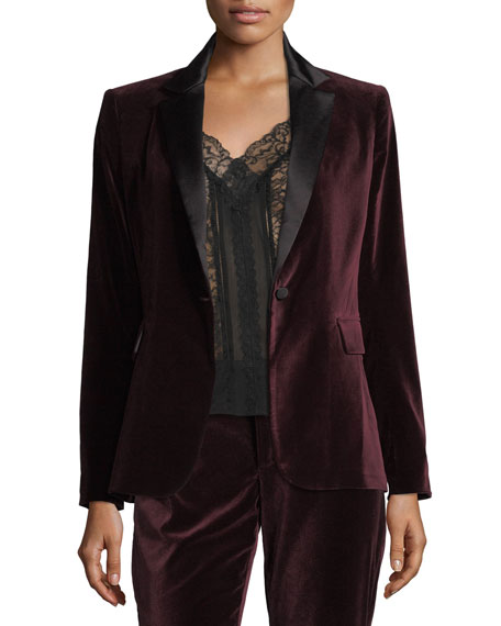 Alice + Olivia Macey Notched-Collar Tailored Velvet Blazer
