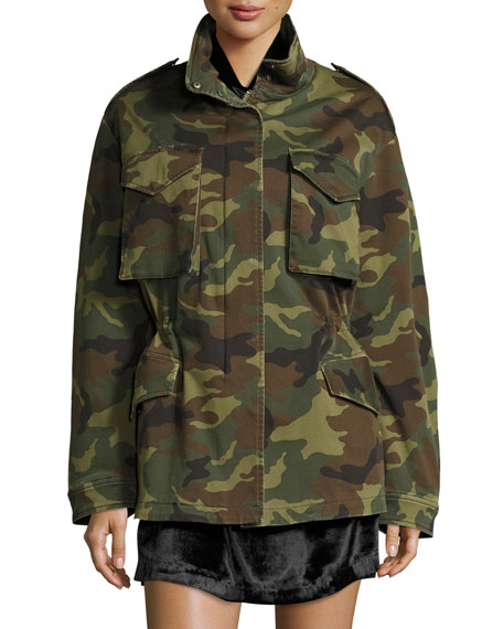 Image 3 of 3: Russo Oversized Camouflage Cotton Parka