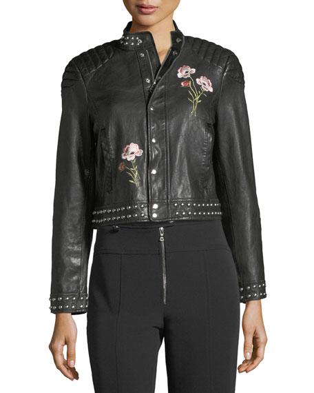 Kinu Leather Moto Jacket w/ Embroidery & Studded Trim