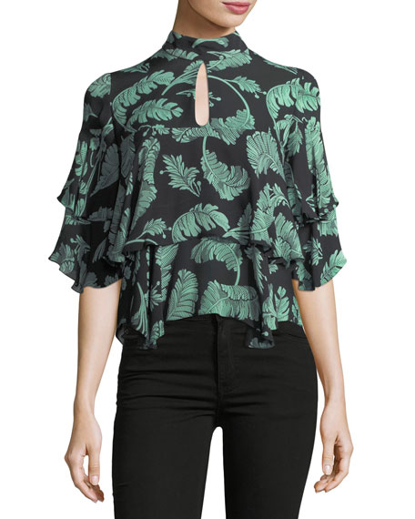 Ileana Palm-Print Mock-Neck Silk Blouse