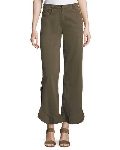 Spencer Mid-Rise Flared Flounce-Hem Cotton Pants