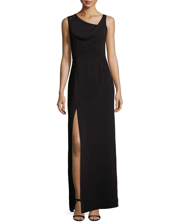 Halston Heritage Sleeveless Drape-Neck Embroidered Evening Gown ...
