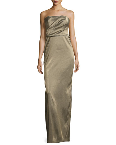 Strapless Metallic Evening Gown w/ Back Structured Flounce