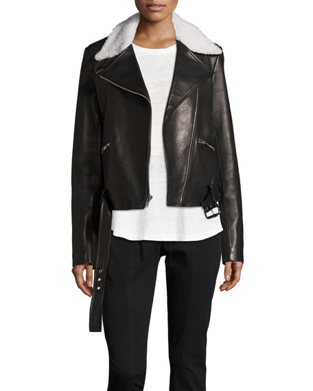 A.L.C. Tyrel Leather Moto Jacket w/ Shearling