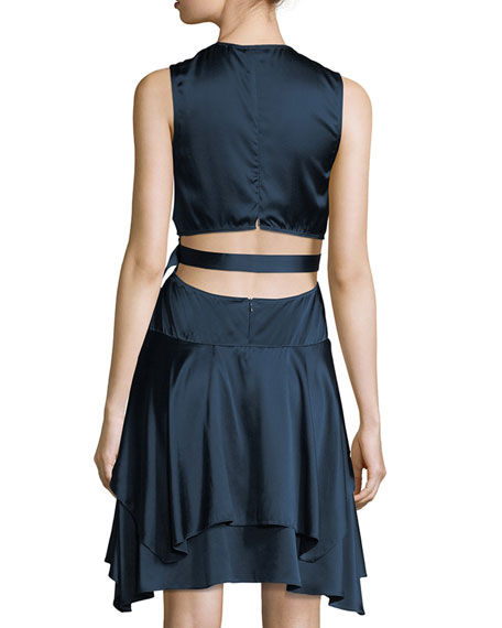 Nahia Deep-V Cutout-Waist Sleeveless Satin Dress