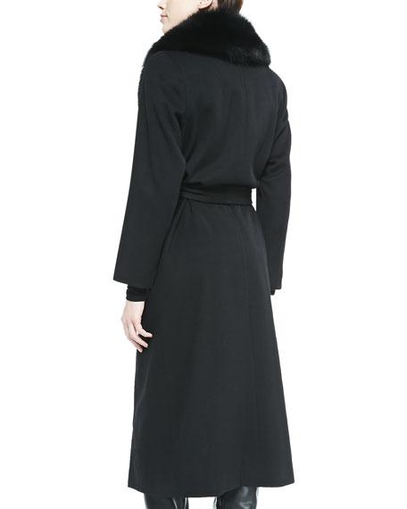 Sofia Cashmere Fur-Collar Belted Long Wrap Coat