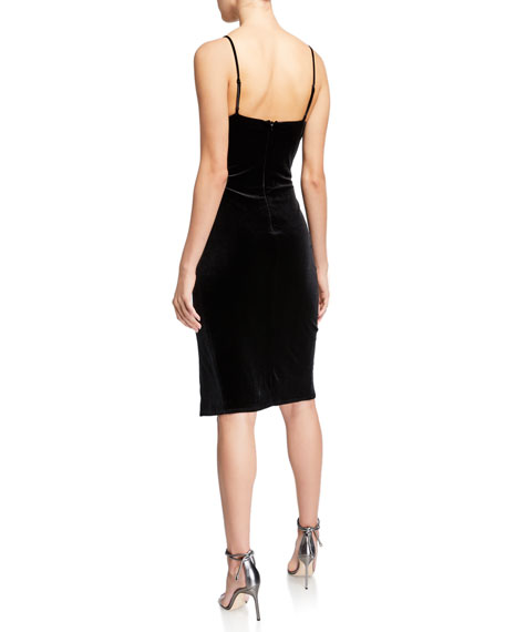 Bowery V-Neck Velvet Sheath Dress w/ High Slit