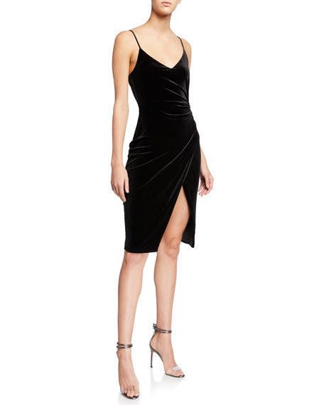 Black Halo Bowery V-Neck Velvet Sheath Dress w/