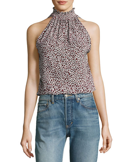 A.L.C. Zayden Halter Animal-Print Silk Blouse