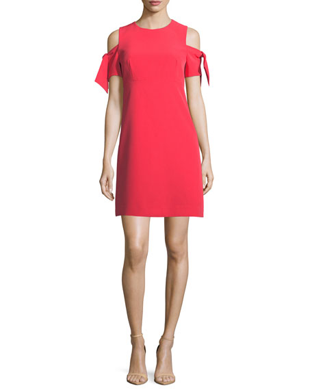 Milly Short Tie-Sleeve Italian Cady Mod Minidress