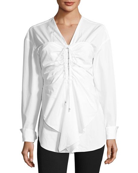 Long-Sleeve Gathered Wrap Poplin Top