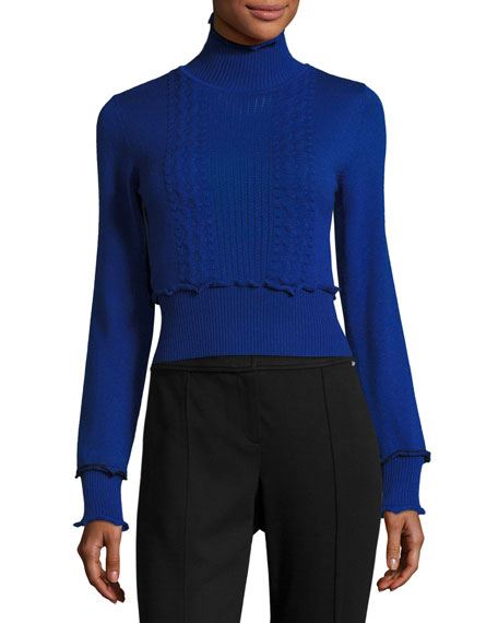3.1 Phillip Lim Turtleneck Long-Sleeve Cable-Knit Sweater