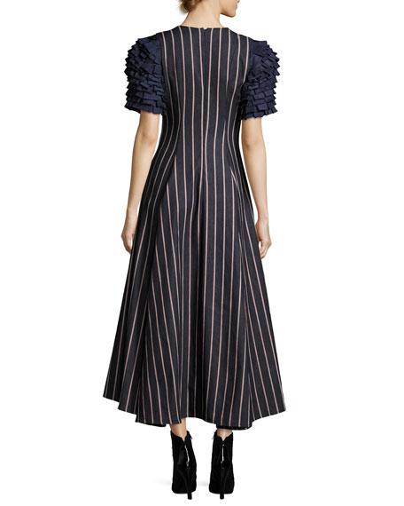 Grabs Your Heart Striped V-Neck Ruffled-Sleeves Denim Dress