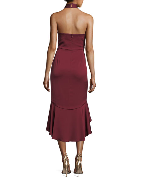 Boswell Crossover Asymmetric Ruffled High-Low Cocktail Dress