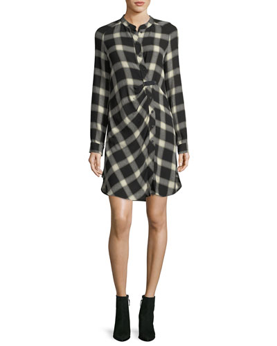 Mandarin-Collar Button-Front Grid-Print Tunic