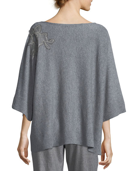 Vanise Luxe Cashmere Sweater w/ Chain-Trim Floral Applique