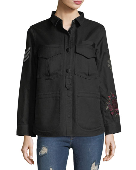 Tackl Long-Sleeve Button-Front Embroidered Jacket