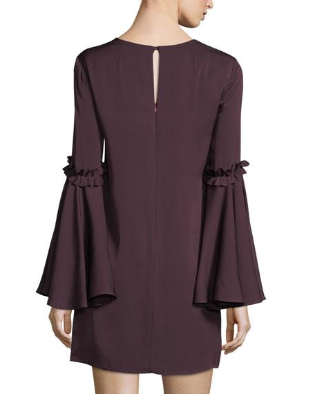 Cassie Bell-Sleeve Stretch-Silk Shift Dress
