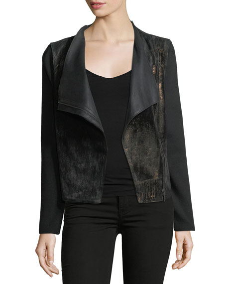 Elie Tahari Courtney Zip-Front Leather & Wool Combo
