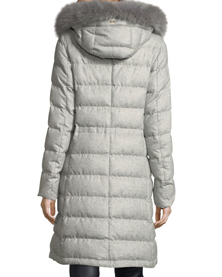 Long Hooded Quilted Puffer Coat w/ Removable Fur Trim