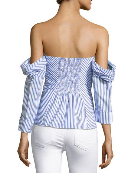 Off-the-Shoulder Striped Poplin Bustier Top