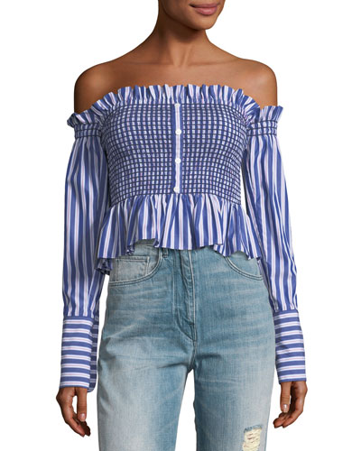 Blaine Smocked Striped Cropped Poplin Top