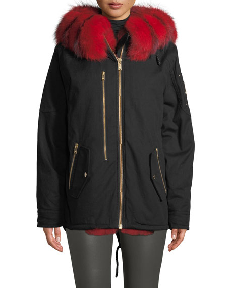 Vanier Long-Sleeve Hooded Canvas Jacket w/ Fur Trim