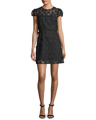 Angie Short-Sleeve Floral Applique Dress