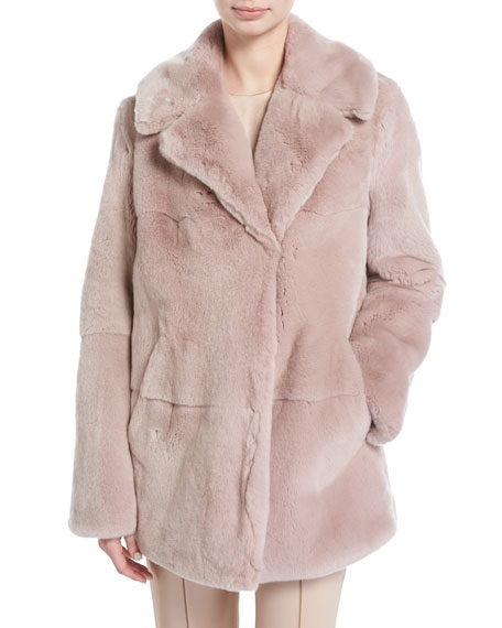 Stone Notched-Collar Long-Sleeve Rabbit Fur Coat